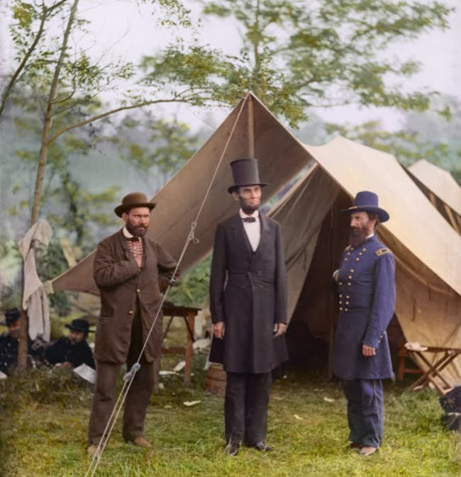 President Lincoln with Major General McClernand and Allan Pinkerton at Antietam in 1862.