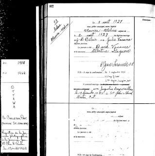 Maurice Belair baptism record