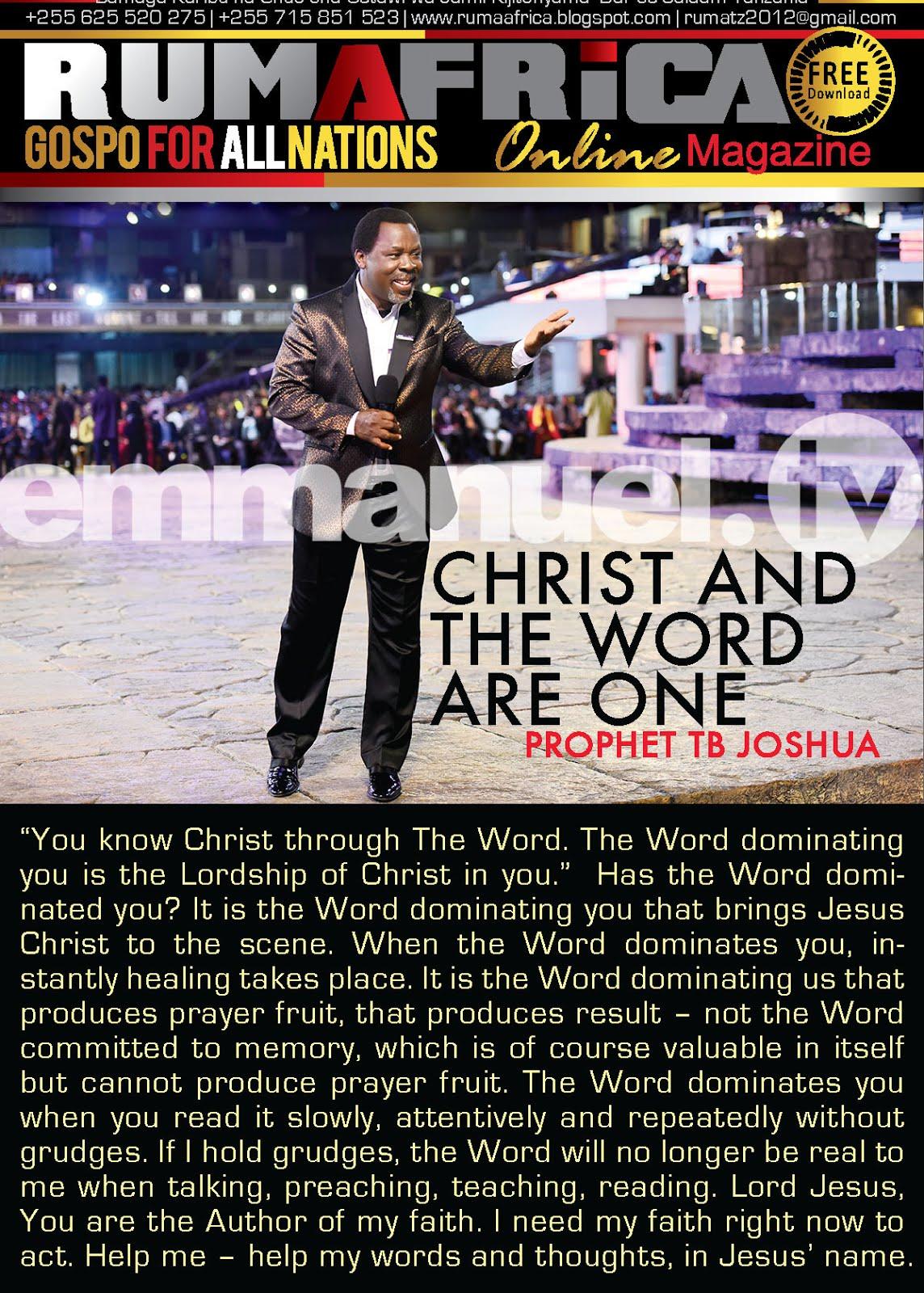 PROPHET TB JOSHUA: YOUR FAITH WILL NOT FAIL