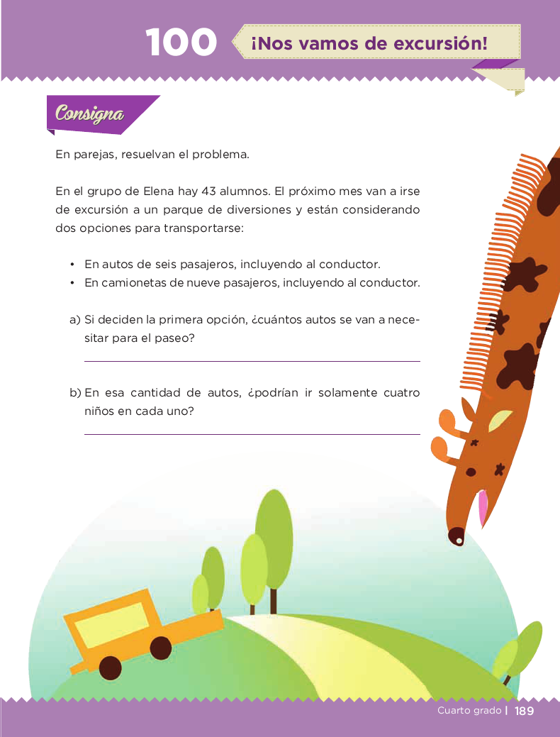 ¡Nos vamos de excursión! - Desafios matemáticos 4to Bloque 5 2014-2015