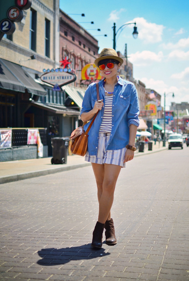 Chambray shirt with shorts