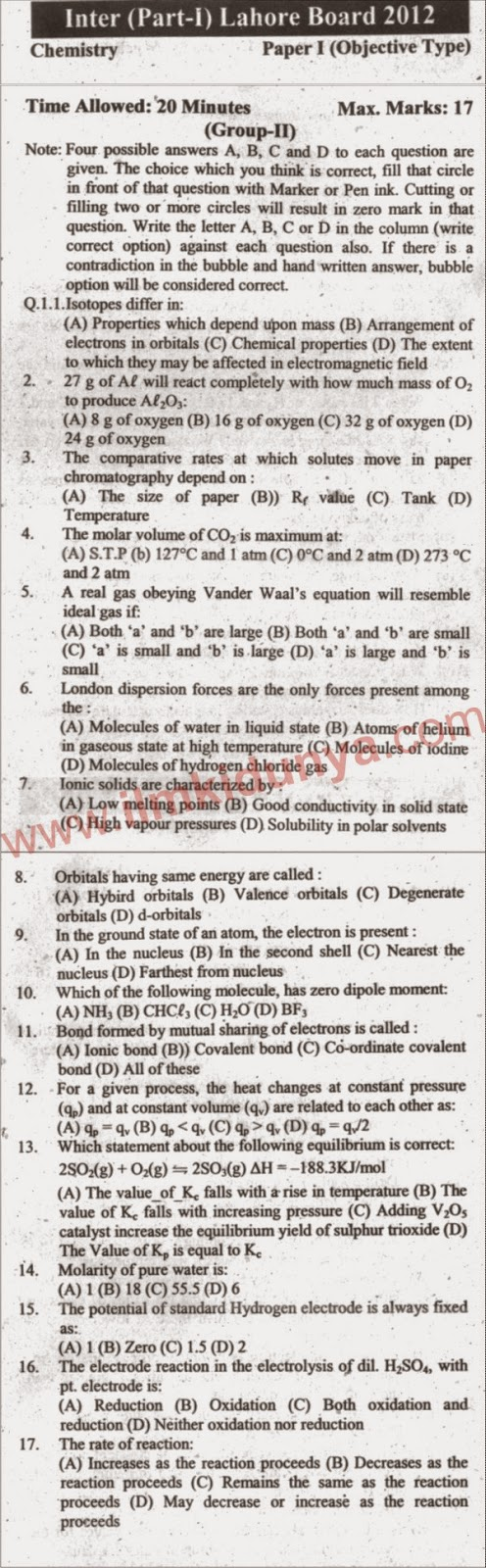 Lahore Board Chemistry Inter Part 1 Past Paper 2012 Objective Group 2