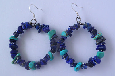 Handmade Lapis Lazuli and Turquoise Hoop Earrings