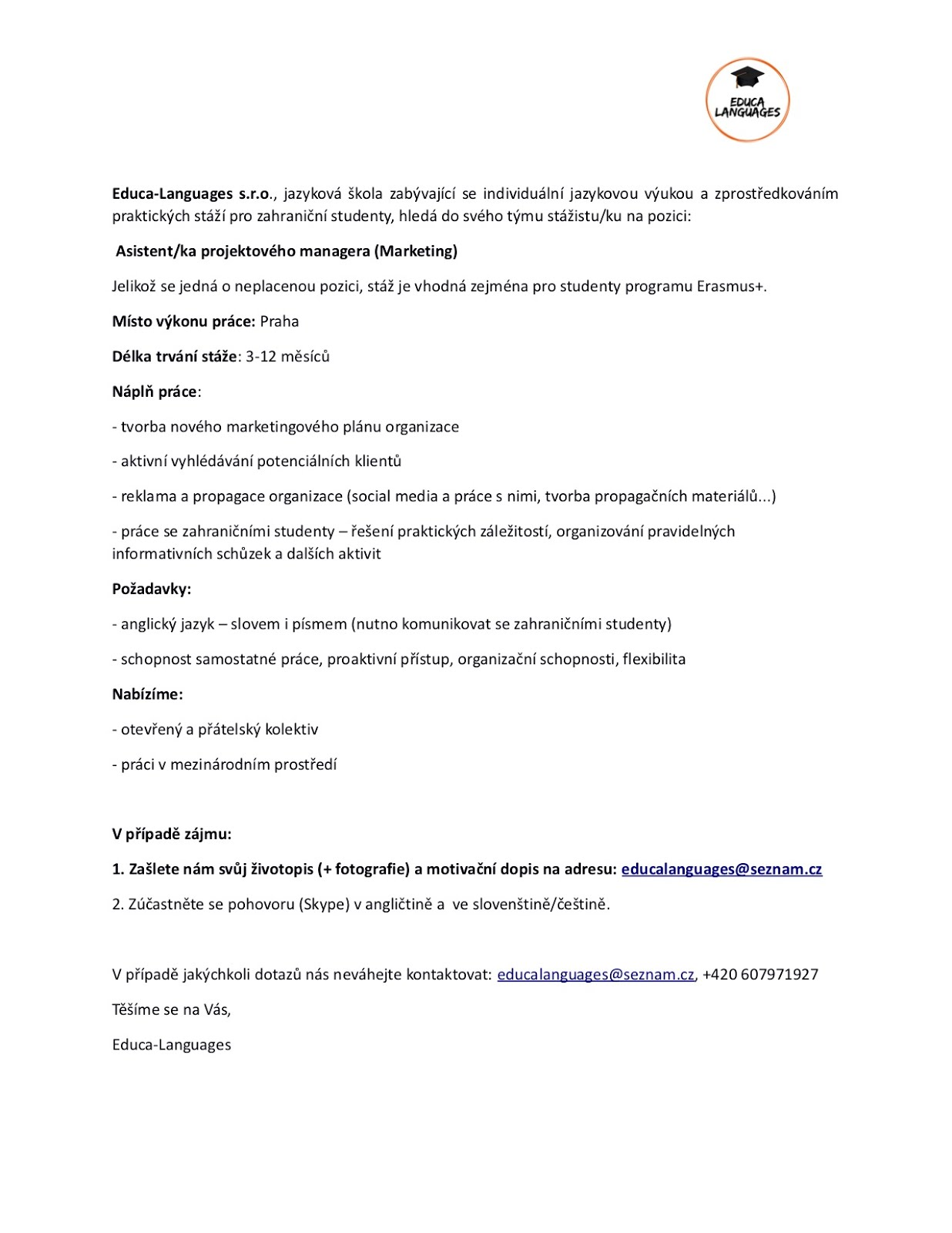 Notice Board Erasmus Traineeship Job Offer