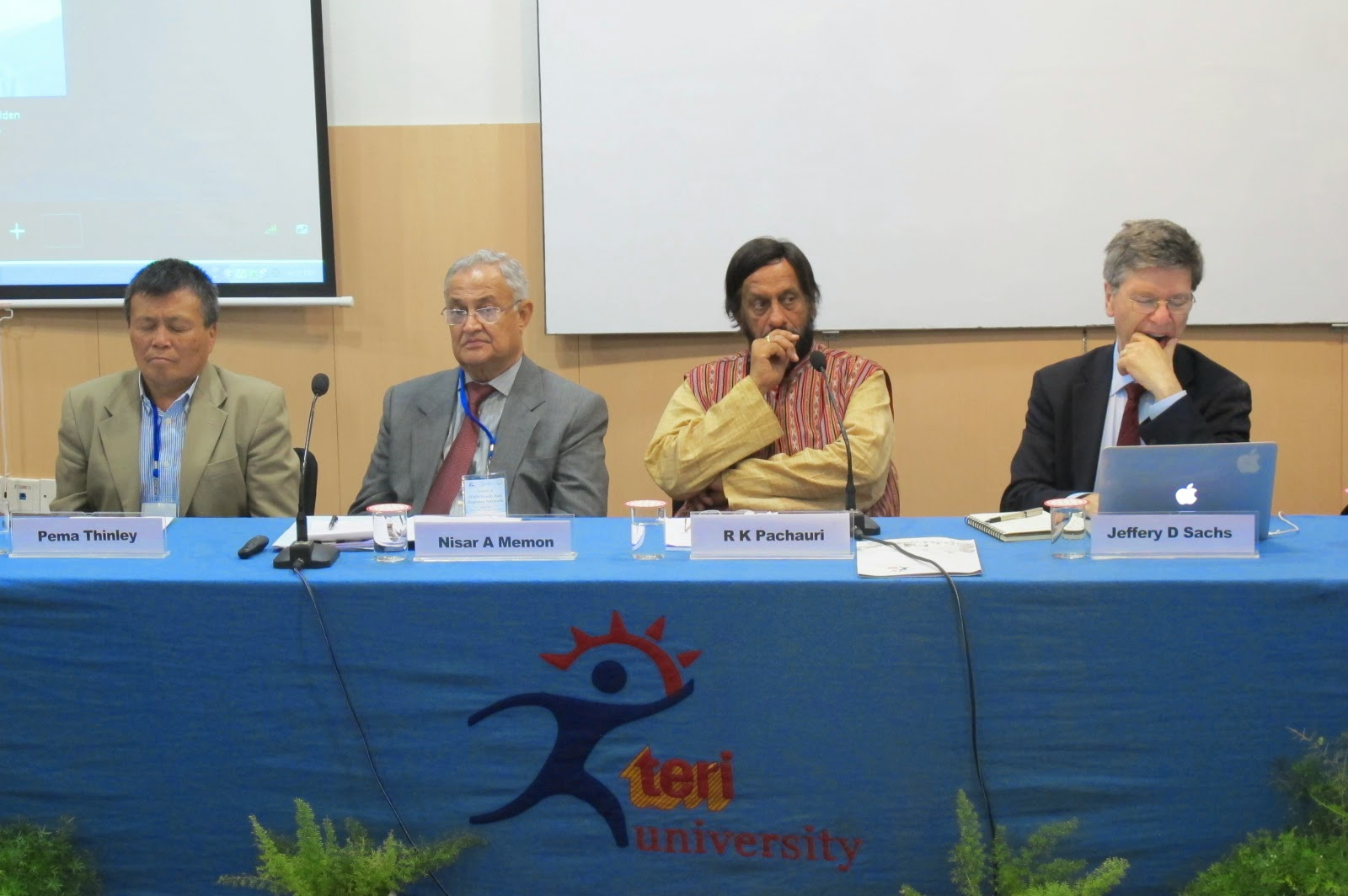 From Left Prof Jeffery Sachs Dr Pachauri Senator Memon