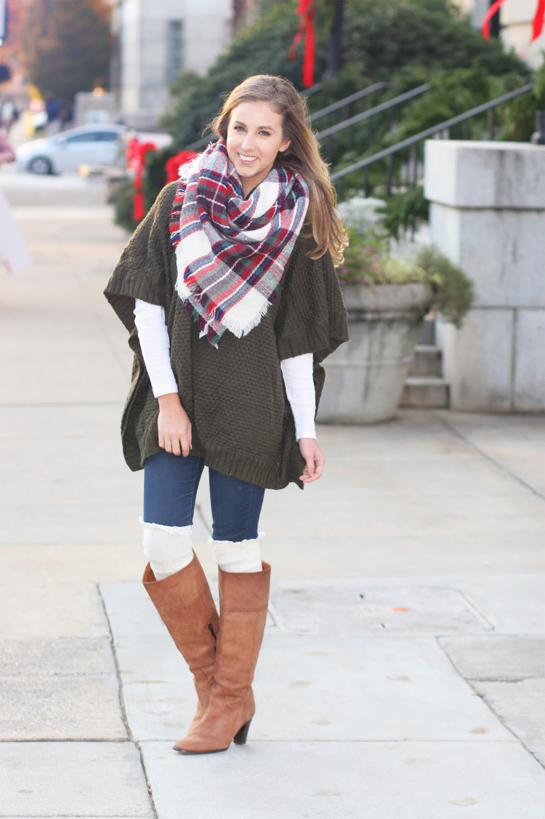 how-to-wear-a-blanket-scarf-for-christmas-layered-with-sweater