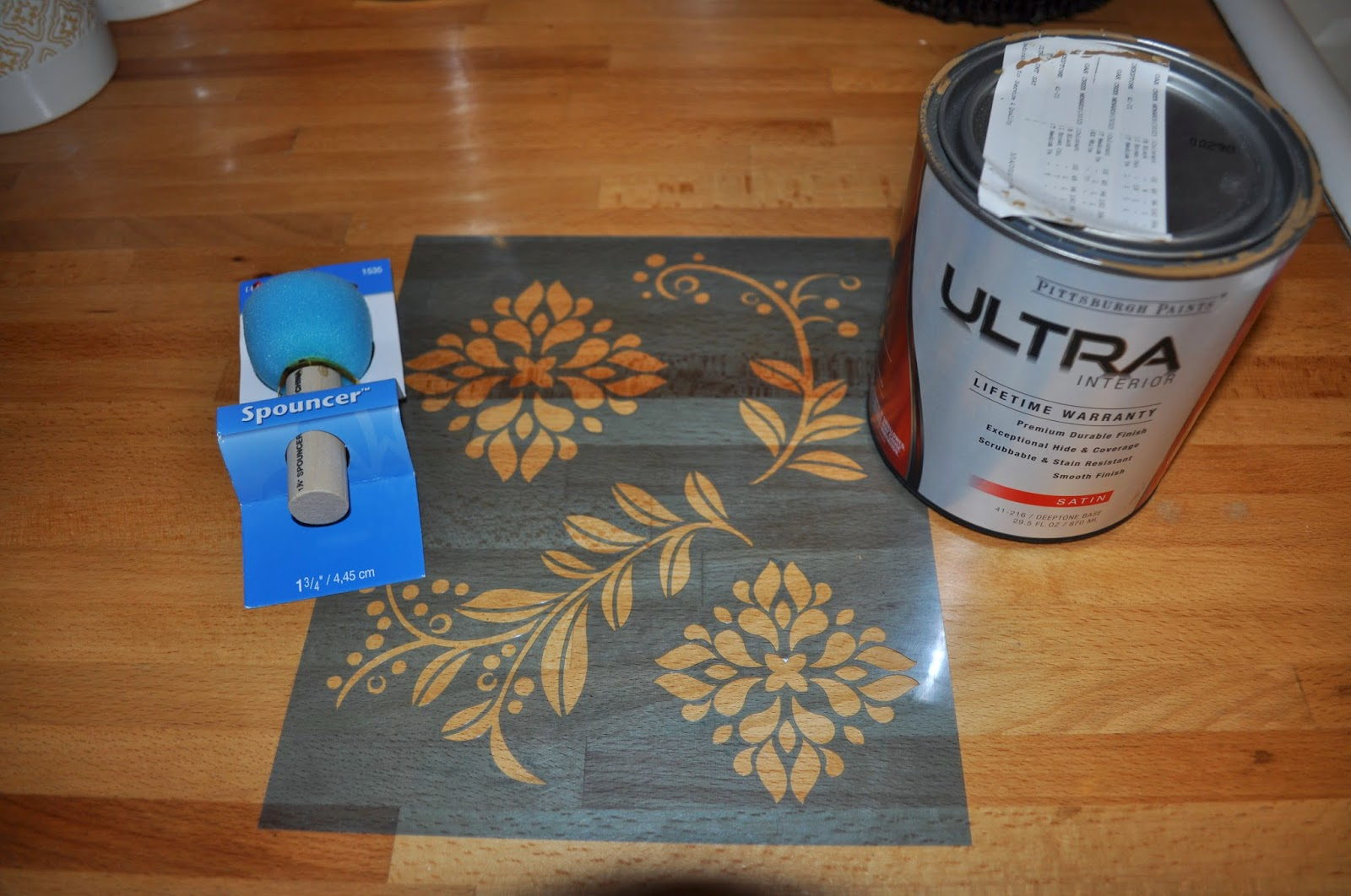 polyurethane, varathane, floors, stencil, stenciling, coco rum, behr paint, wood lily, dutch boy paint, Joann fabrics, floors, particle board, DIY, reno