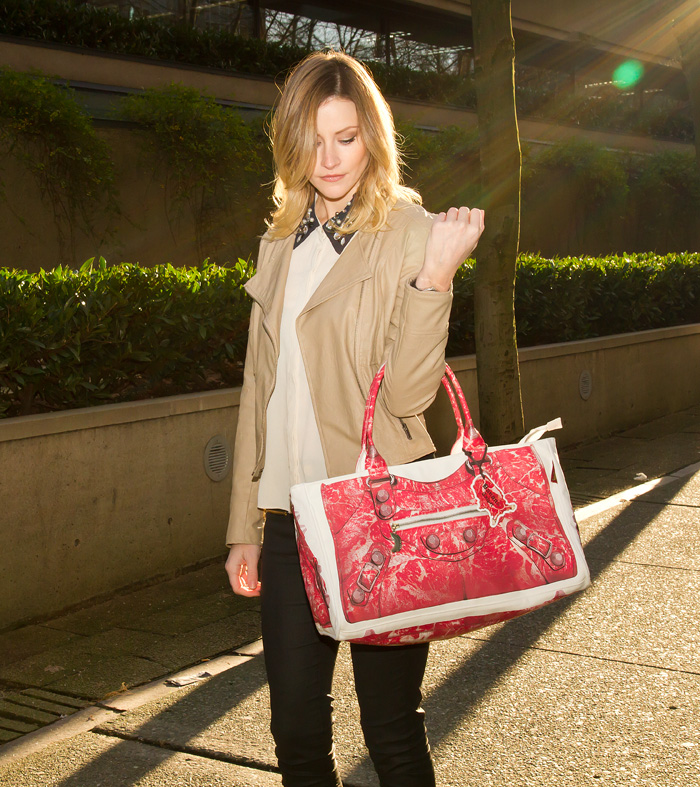 Vancouver Fashion Blogger, Alison Hutchinson, wearing Banana Taipei Balenciaga Bag, Urban Outfitters tan leather jacket, Sugarlips Embedded Jewels top, Zara wax coated denim, Browns red suede heels