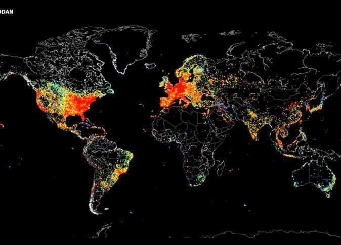 ''تايم'' : خريطة توضح جميع الأجهزة المتصلة بالإنترنت حول العالم