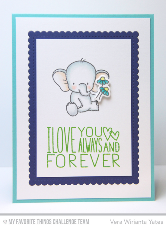 Forever Elephant Card by Vera Wirianta Yates featuring the Birdie Brown Adorable Elephants stamp set and Die-namics and the Miss Tiina I Love You More stamp set #mftstamps