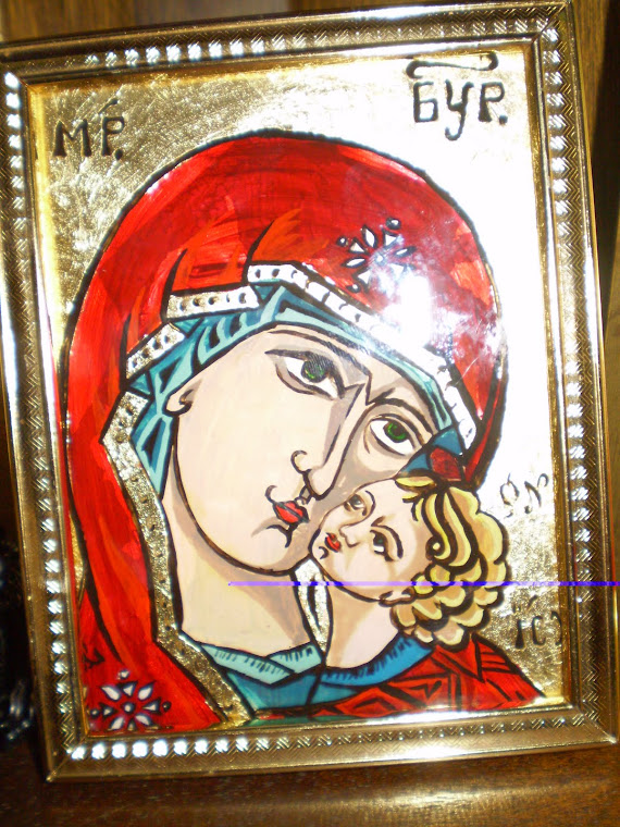 Icon painting on glass,detail 1