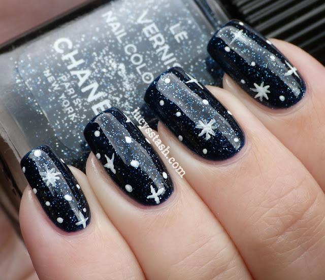 Chanel Night Sky, nail art stars Underneath the stars