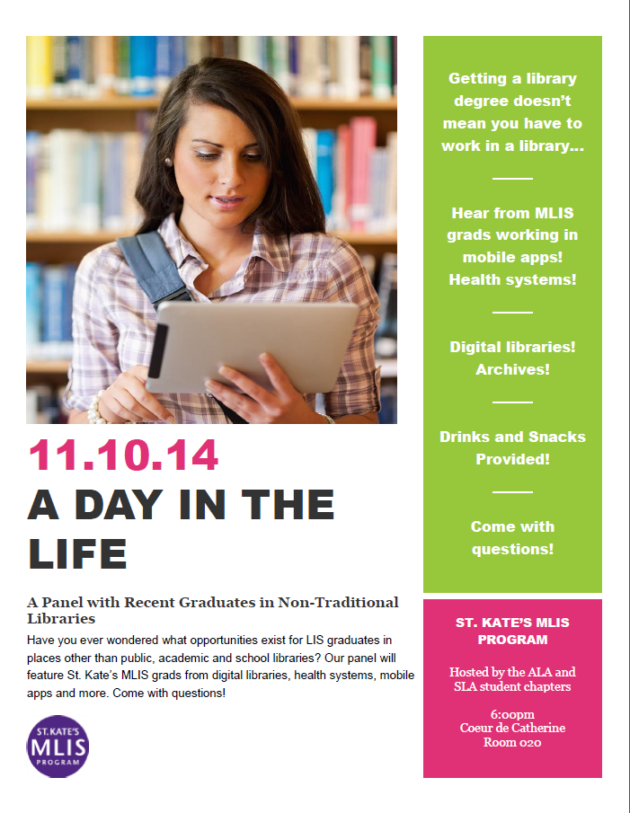 poster for A Day in the Life Panel: Monday November 10th at 6 pm in CdC 20