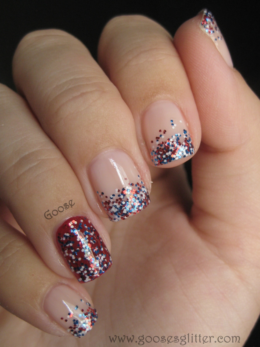 Goose\'s Glitter: 4th of July Nails