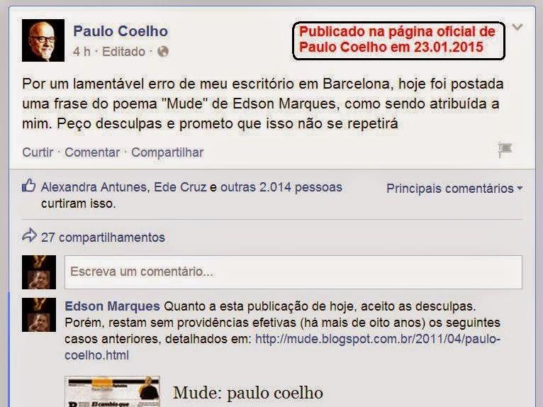PAULO COELHO PLAGIANDO EDSON MARQUES
