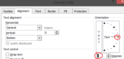 Alignment Tab in Format Cells Window