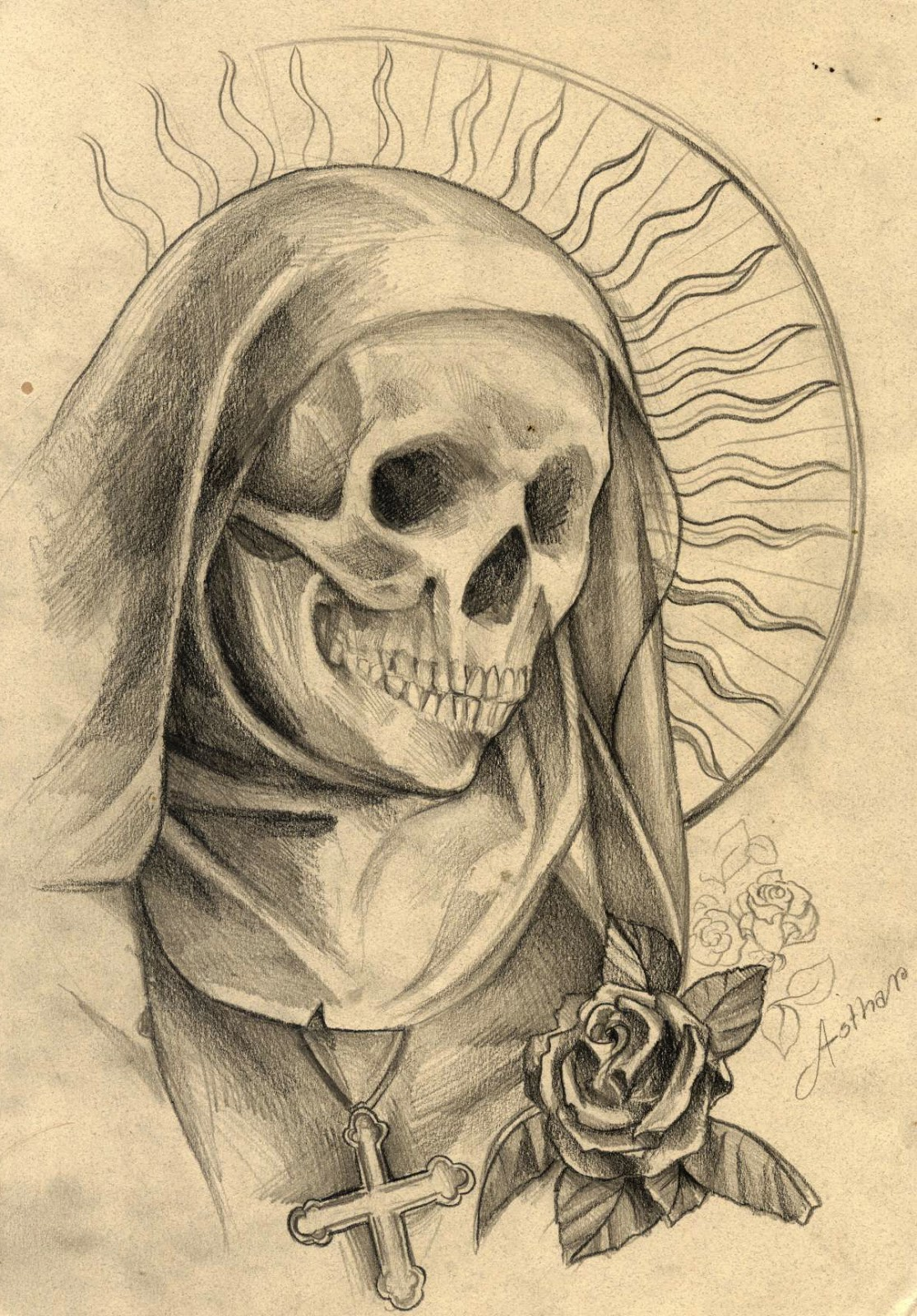 Santa Muerte Sketch Pictures To Pin On Pinterest  TattoosKid
