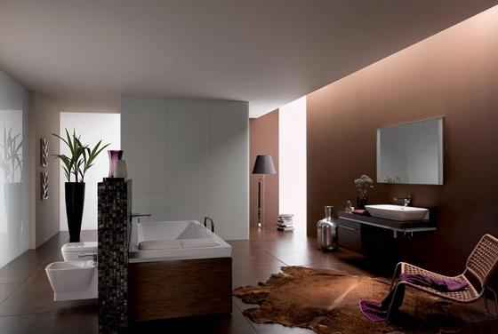 Baño Chocolate Blanco:Decoración de baño en marrón chocolate y blanco Áreas del baño