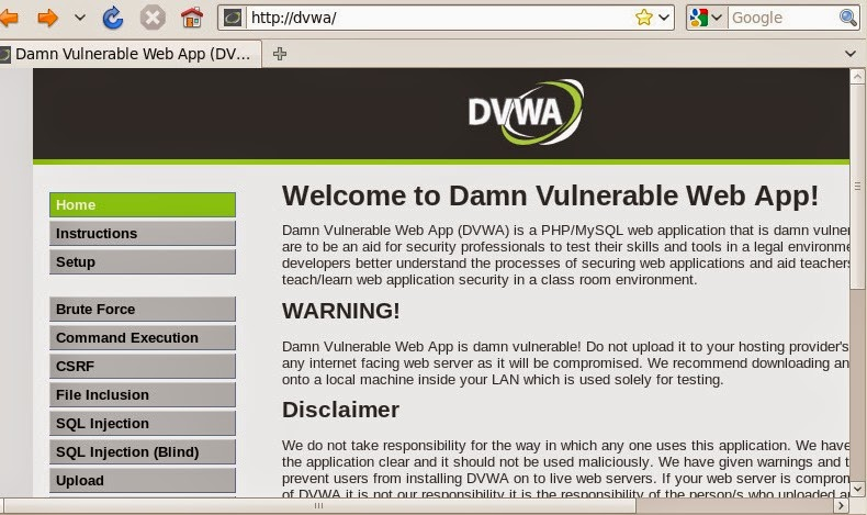 Dam Vulnerable Web Application