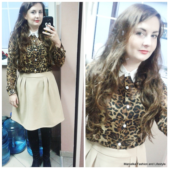 Fashion Turndown Collar Long Sleeves Leopard Chiffon Shirt     LF150901606