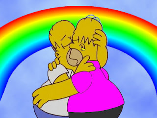 two homers kissing, gay homer, homersexual