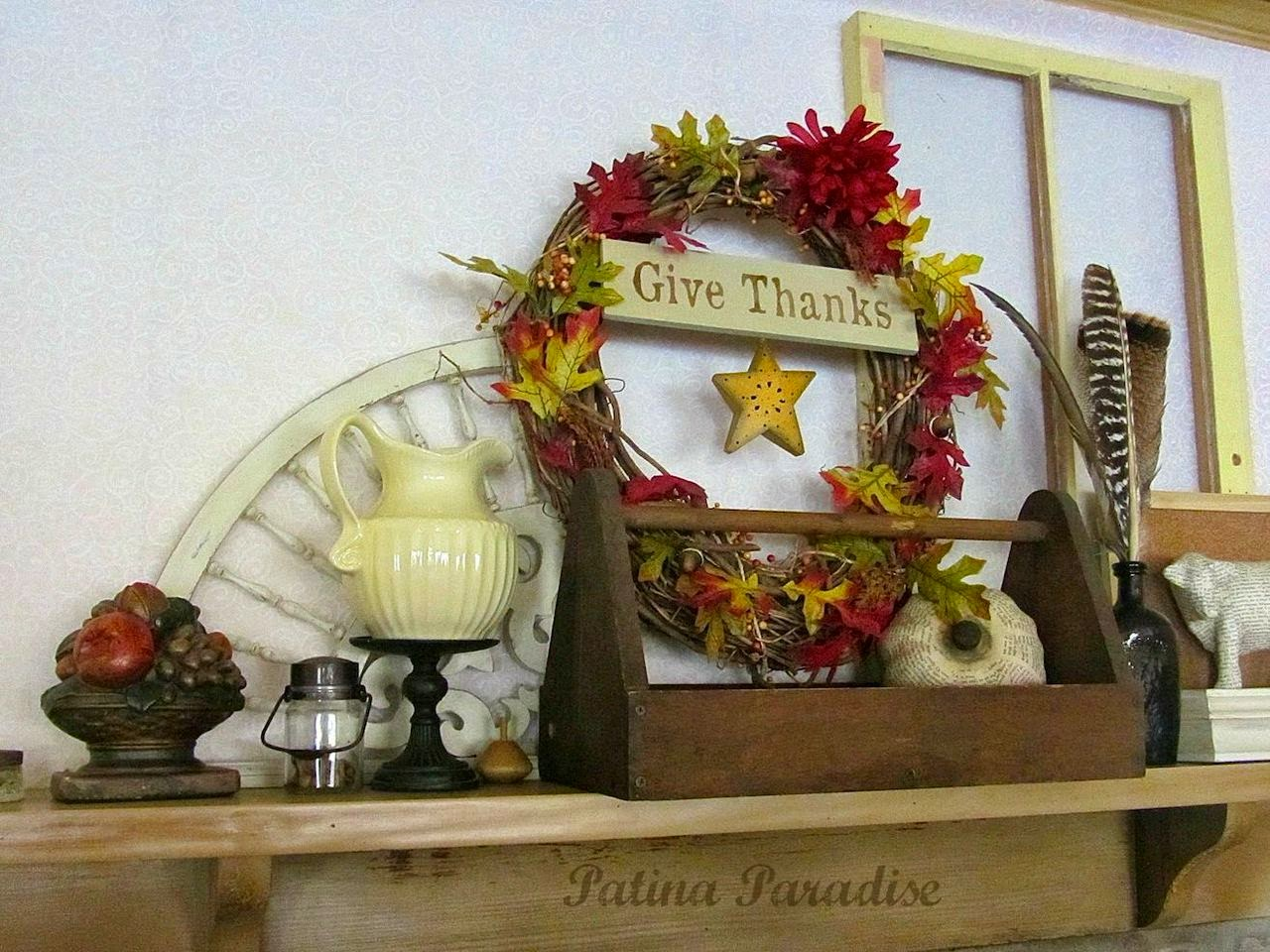 Two Thanksgiving Mantel Styles from Flea Market Finds