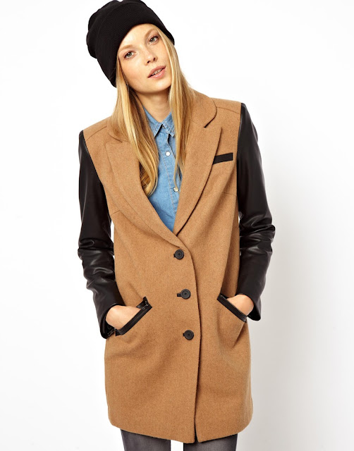 two tone camel coat