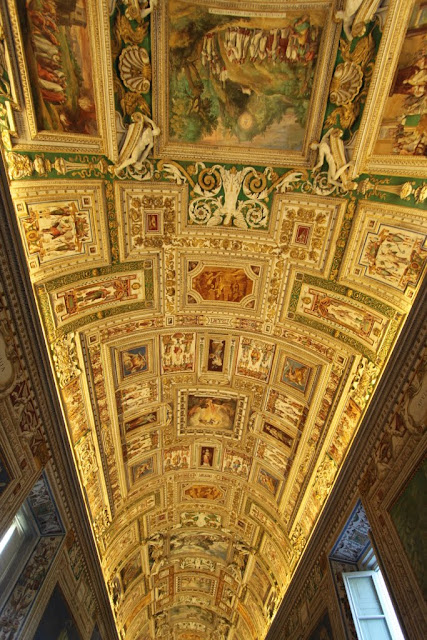The ceiling of the Gallery of Maps in Galleria Delle Carte in Musei Vaticani (Vatican Museum) in Vatican City, Rome, Italy