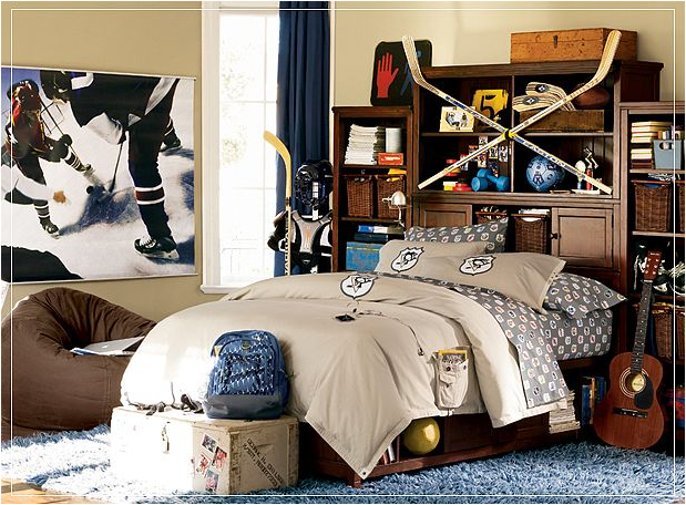Teen boys sports theme bedrooms room design ideas - Decoration of boys bedroom ...