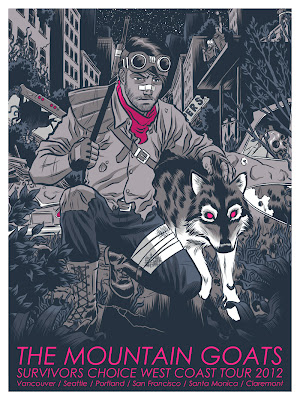 The Mountain Goats Survivors Choice 2012 West Coast Tour Concert Poster 1 by Rober Wilson IV