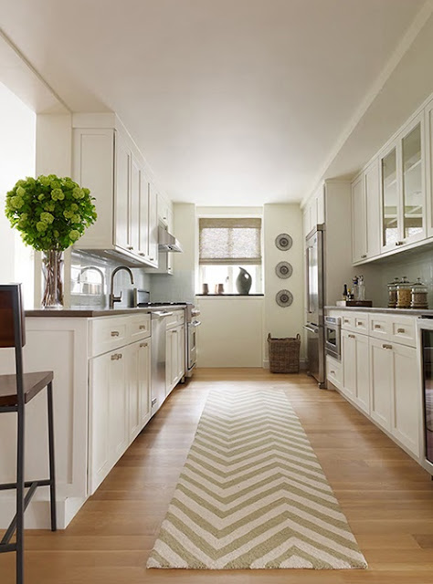 Eye for design create a lovely galley kitchen for Long galley kitchen designs