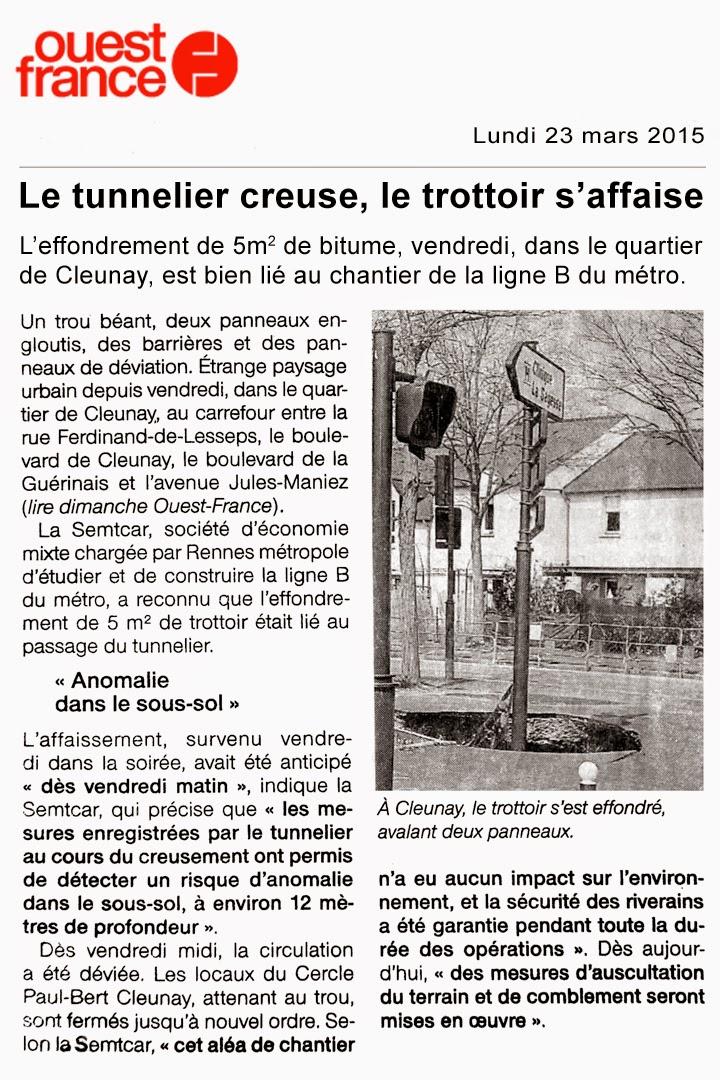 Le tunnelier creuse, le trottoir s'affaise - Ouest-France - Lundi 23 mars 2015