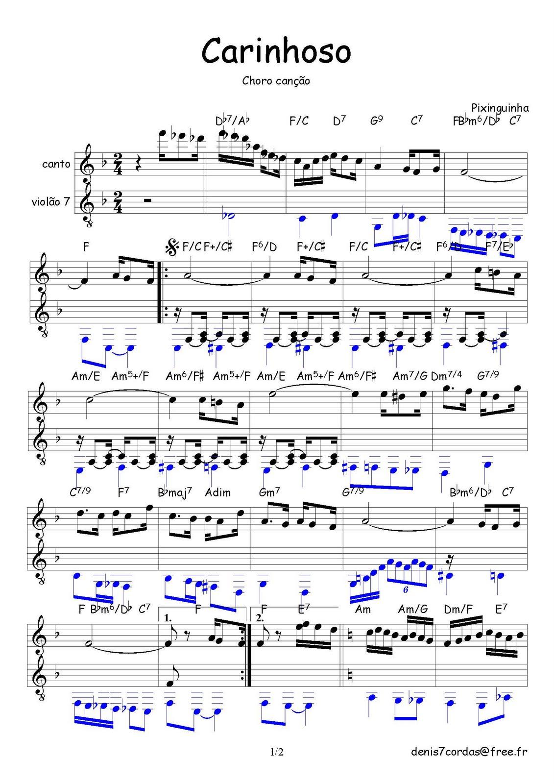 Top Partituras para Violão 7 Cordas: Carinhoso (Música de Pixinguinha  HS88