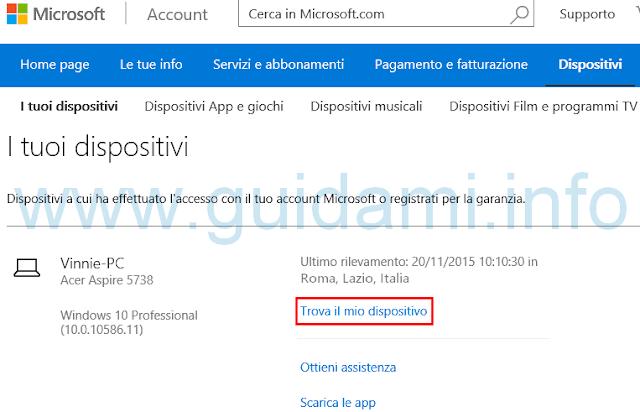 Windows 10 sito e link Trova il mio dispositivo