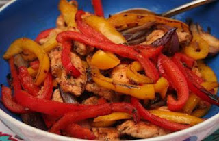 Picture of Mexican Pork Fajitas Stir Fry on dark plate