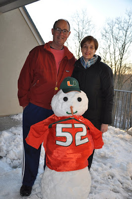 Miami Snowman built by Athertyn Residents Sam and Susan Ballam during the Blizzard of 2016