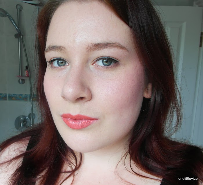 frosty pink coral very summery lipstick