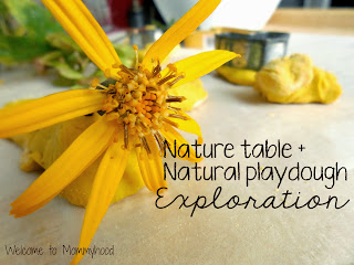 Homemade playdough and nature table invitation to play by Welcome to Mommyhood