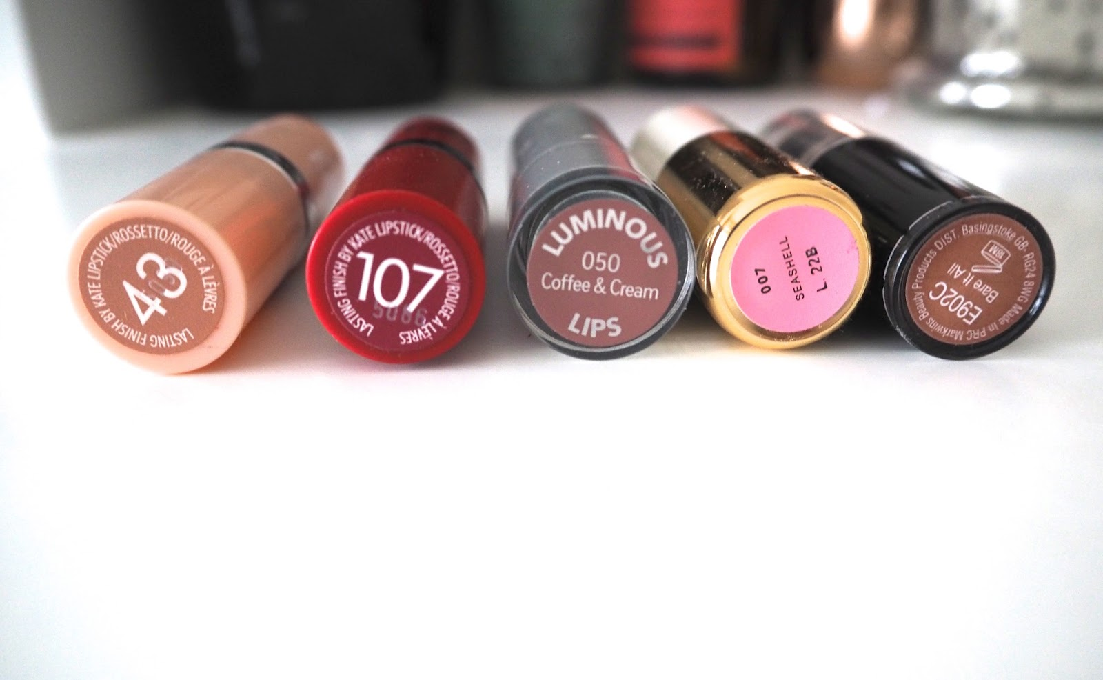 My Favourite Drugstore Lipsticks, best drugstore lipsticks, nude, bold, pink, red, rimmel kate moss, 43, 107, catrice luminous lips lipstick, h&m beauty, hm, seashell, wet 'n wild bare it all, megalast lipstick, swatches