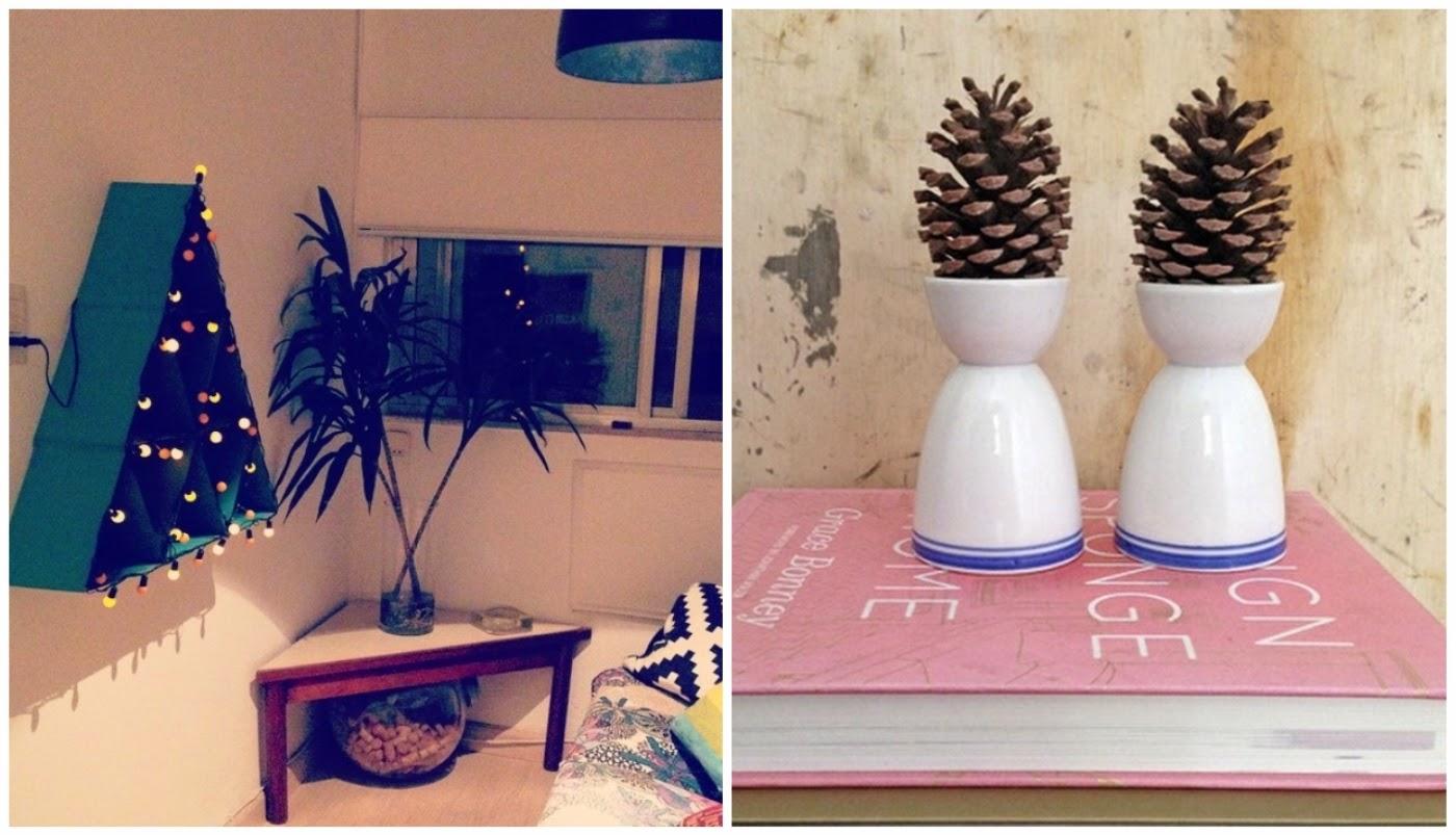 A primeira foto é uma árvore de Natal feita de papel cartão pela Vivi. Adorei as pinhas em destaque no suporte de ovos que a Chris Campos montou.