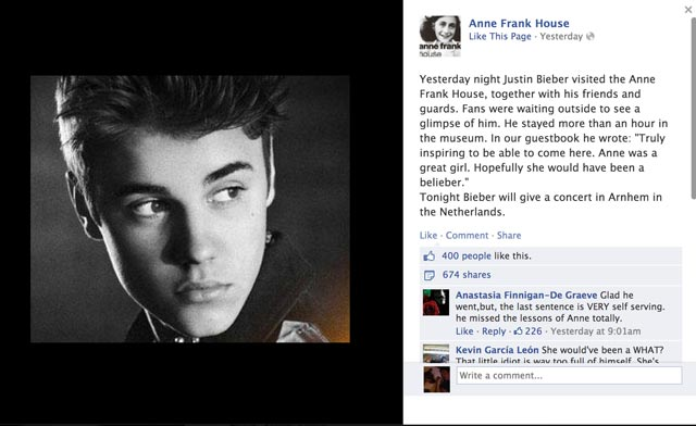 Scott norton taylor the tweet that made anne frank a belieber this was tweeted by the frank house very cleverly as it will no doubt attract huge publicity and thousands or visitors bieber has been pilloried for fandeluxe Epub