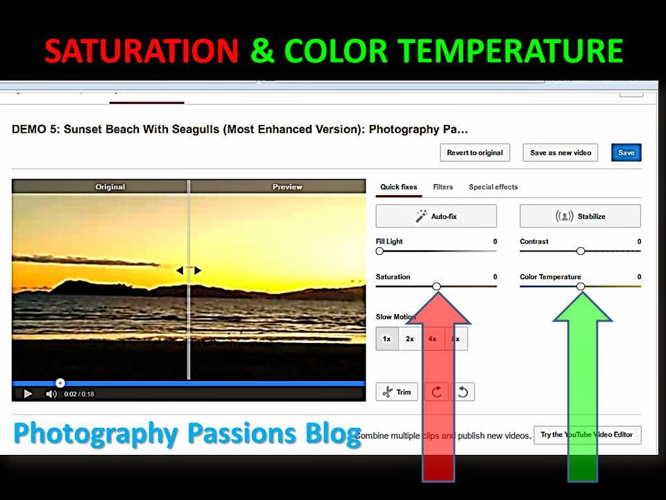 where to find saturation and color temperature sliders