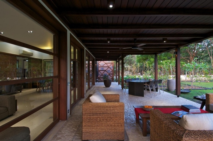 Terrace of Courtyard Home by Hiren Patel Architects