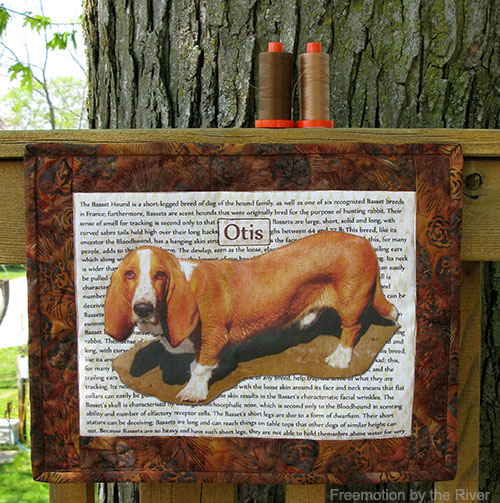 Otis, a basset hound used with TAP for a wall hanging