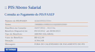 Valor do Abono salarial do PIS