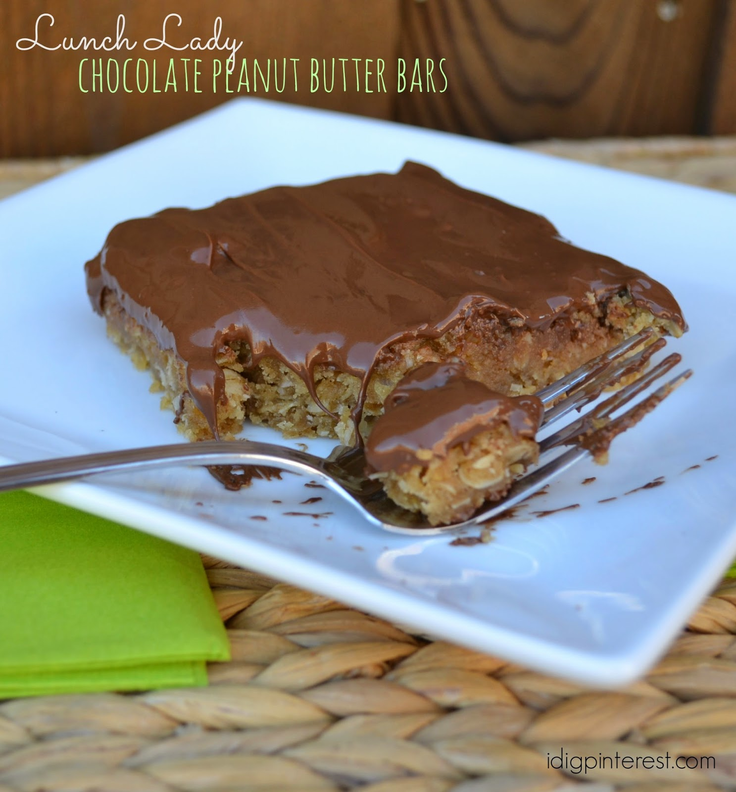 lunch lady chocolate peanut butter bars i dig