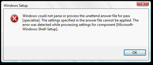 Windows could not parse or process the unattend answer file for pass [Speicalize] error
