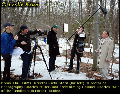 Break Thru Films Director Ricki Stern (far left), Director of Photography Charles Miller, and crew filming Colonel Charles Halt of the Rendlesham Forest incident