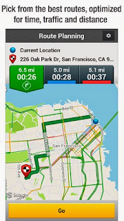 Screenshots of the Scout GPS Navigation & Traffic for Android tablet, mobile phone.