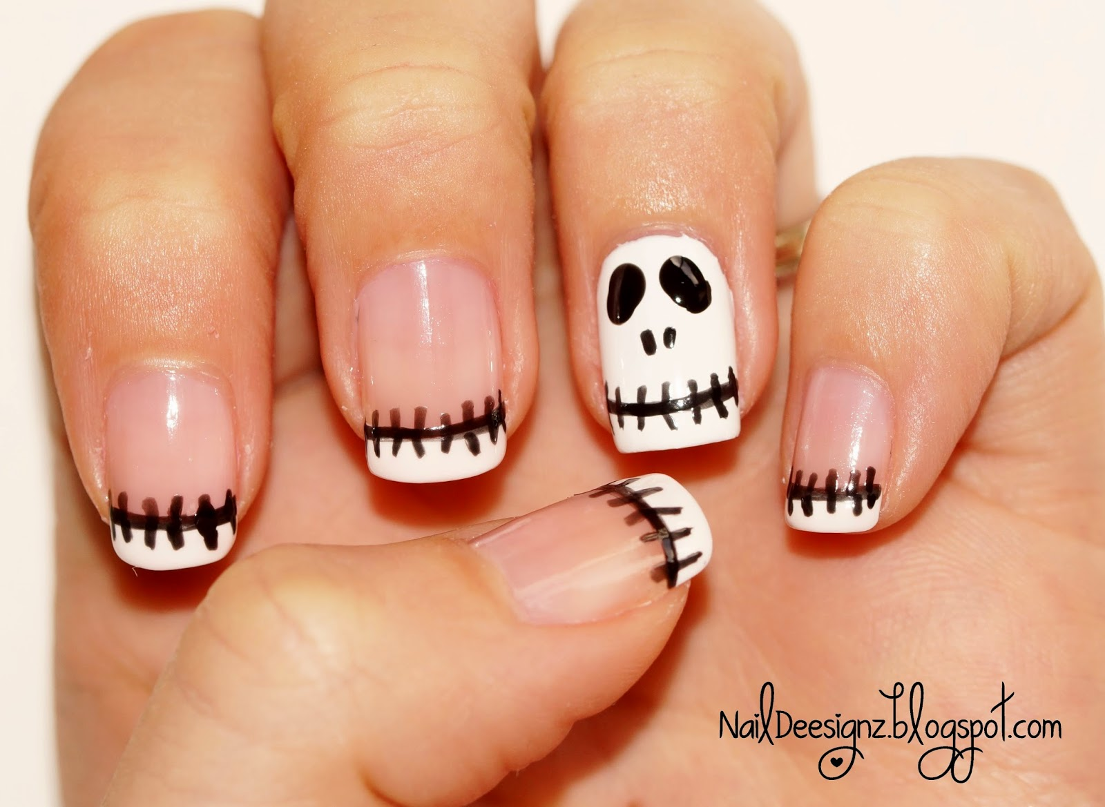 Naildeesignz skeleton nail art here is my halloween design this is inspired from missjenfabulous tutorial this is such a simple design you could do the skeleton on more than one nail prinsesfo Images